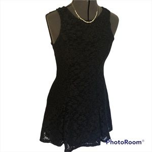 NWT Black Sparkly Fit and Flare Skater Tie Back Mini Dress Holiday New Years